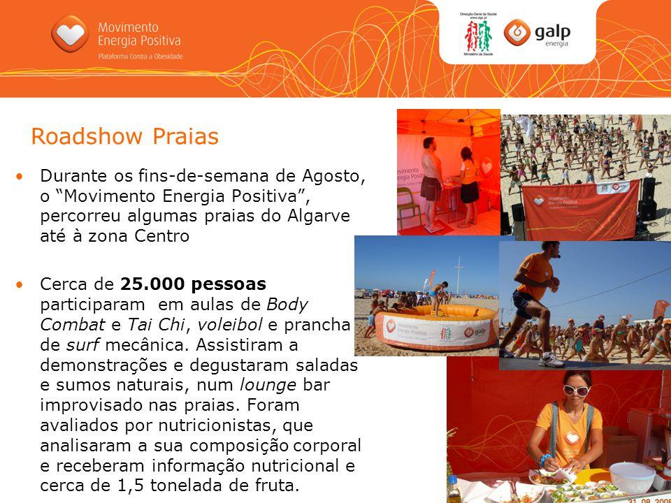 Roadshow Praias Durante os fins-de-semana de Agosto, o Movimento Energia Positiva , percorreu algumas praias do Algarve até à zona Centro.