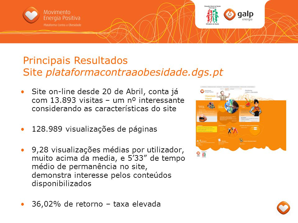 Principais Resultados Site plataformacontraaobesidade.dgs.pt