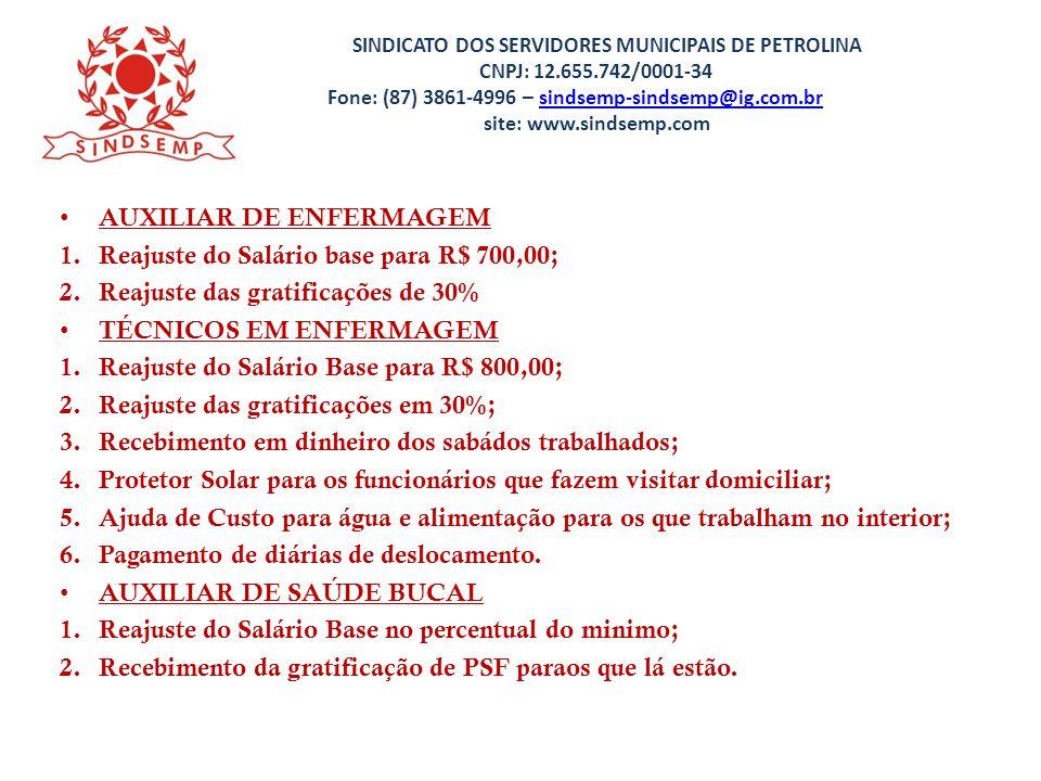 AUXILIAR DE ENFERMAGEM Reajuste do Salário base para R$ 700,00;
