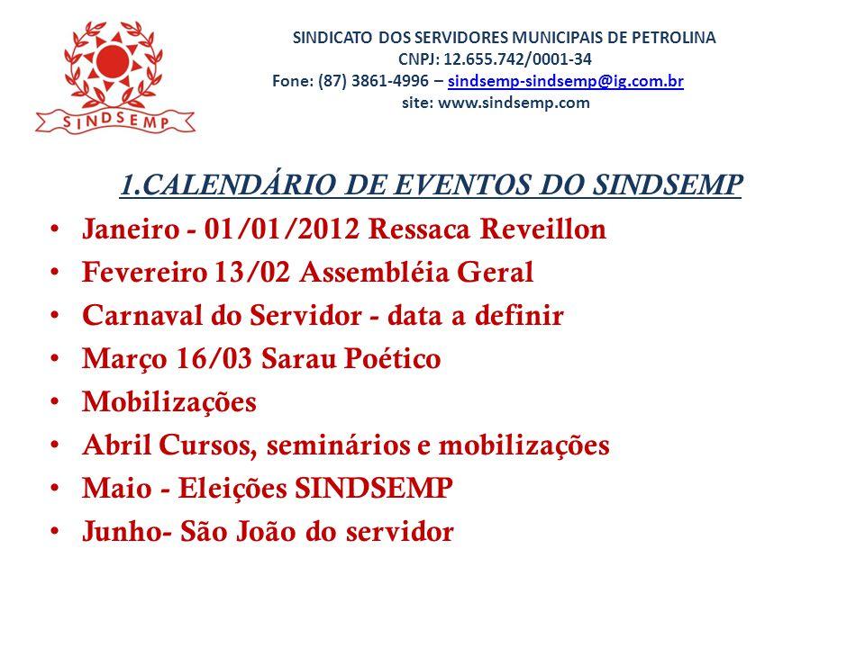 1.CALENDÁRIO DE EVENTOS DO SINDSEMP