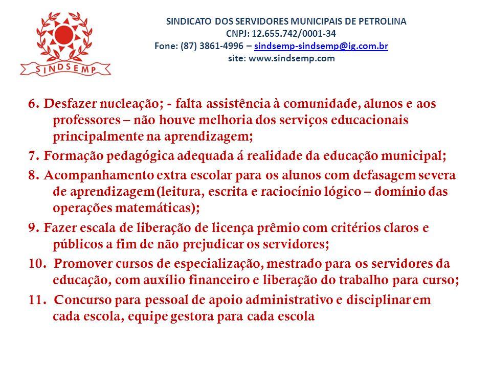 SINDICATO DOS SERVIDORES MUNICIPAIS DE PETROLINA CNPJ: 12. 655