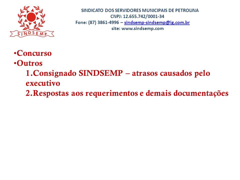 Consignado SINDSEMP – atrasos causados pelo executivo