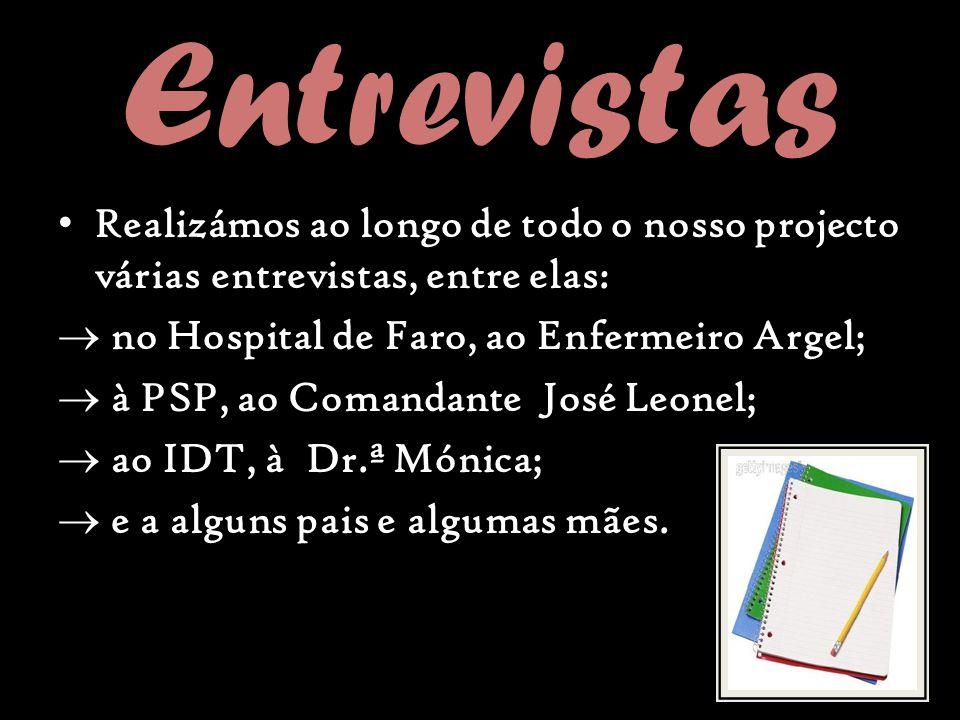 Entrevistas Realizámos ao longo de todo o nosso projecto várias entrevistas, entre elas: no Hospital de Faro, ao Enfermeiro Argel;