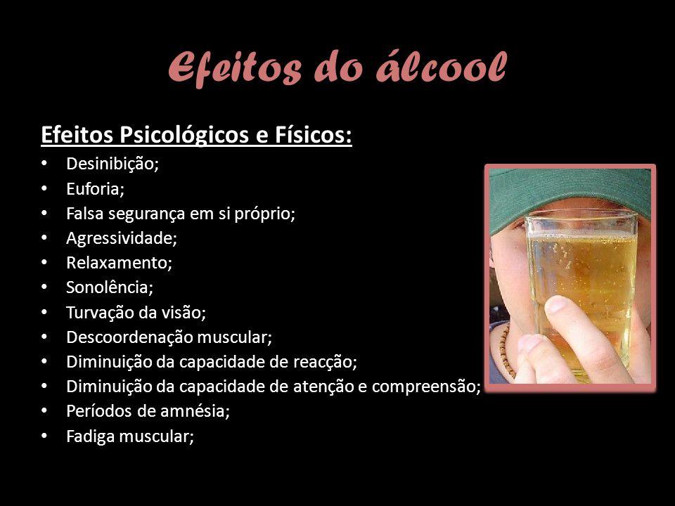 Efeitos do álcool Efeitos Psicológicos e Físicos: Desinibição;