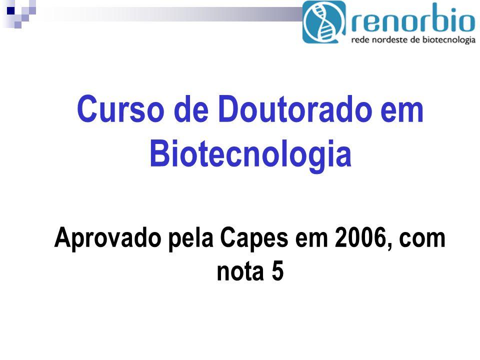 Curso de Doutorado em Biotecnologia Aprovado pela Capes em 2006, com nota 5