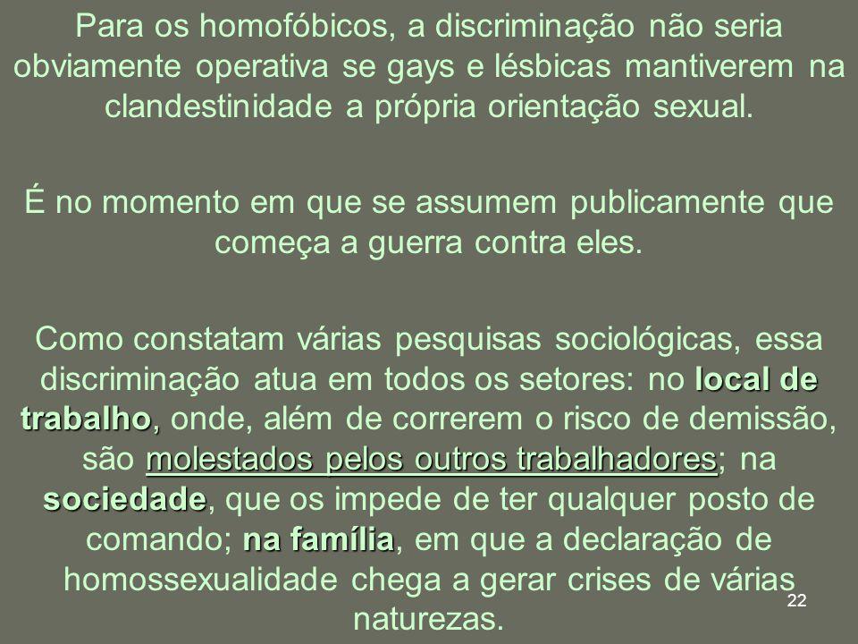 Para os homofóbicos, a discriminação não seria obviamente operativa se gays e lésbicas mantiverem na clandestinidade a própria orientação sexual.
