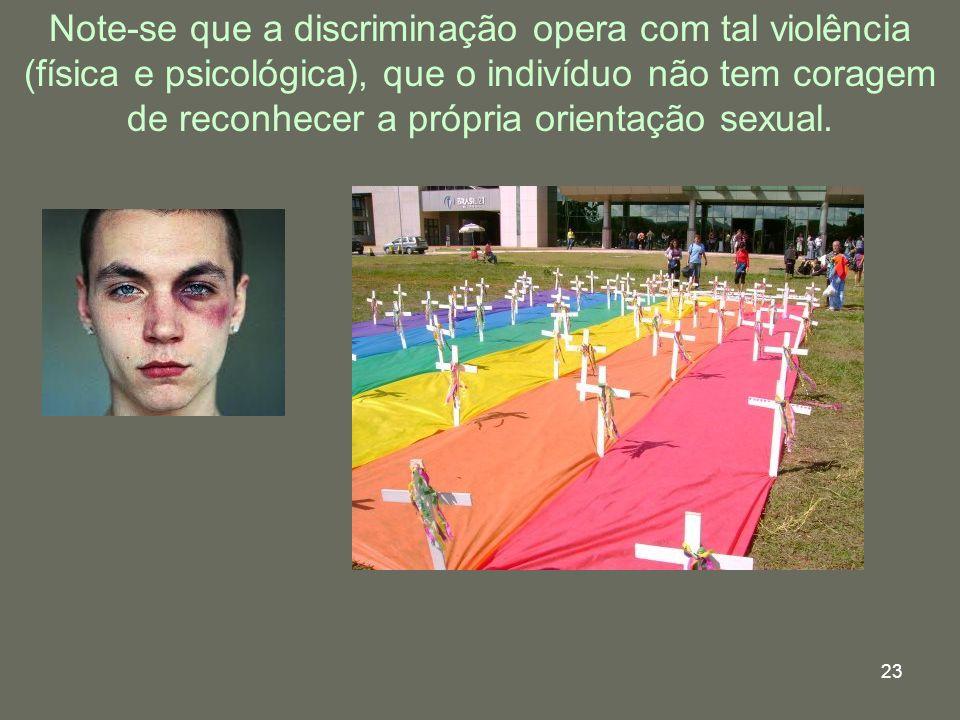 Note-se que a discriminação opera com tal violência (física e psicológica), que o indivíduo não tem coragem de reconhecer a própria orientação sexual.