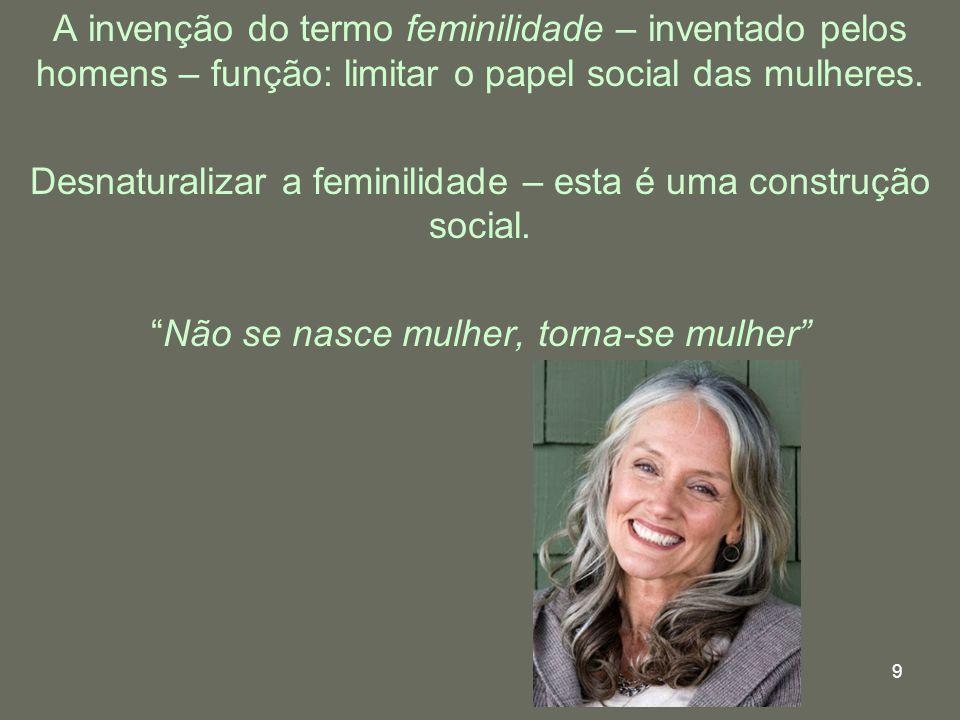 Desnaturalizar a feminilidade – esta é uma construção social.