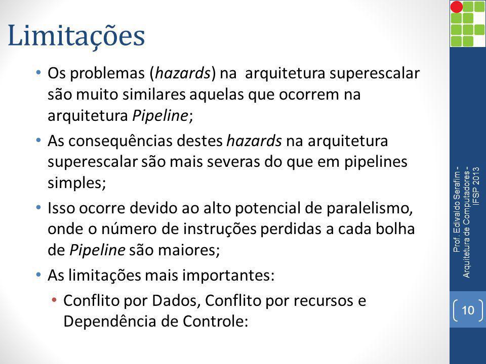 Limitações Os problemas (hazards) na arquitetura superescalar são muito similares aquelas que ocorrem na arquitetura Pipeline;