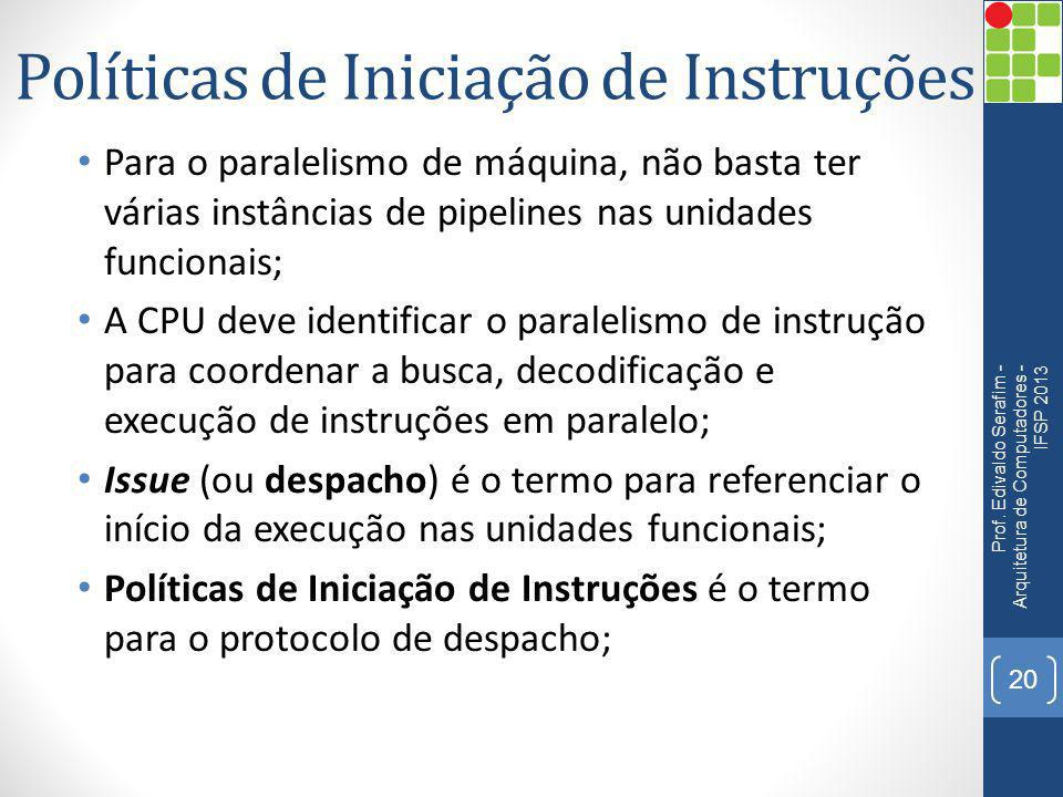 Políticas de Iniciação de Instruções