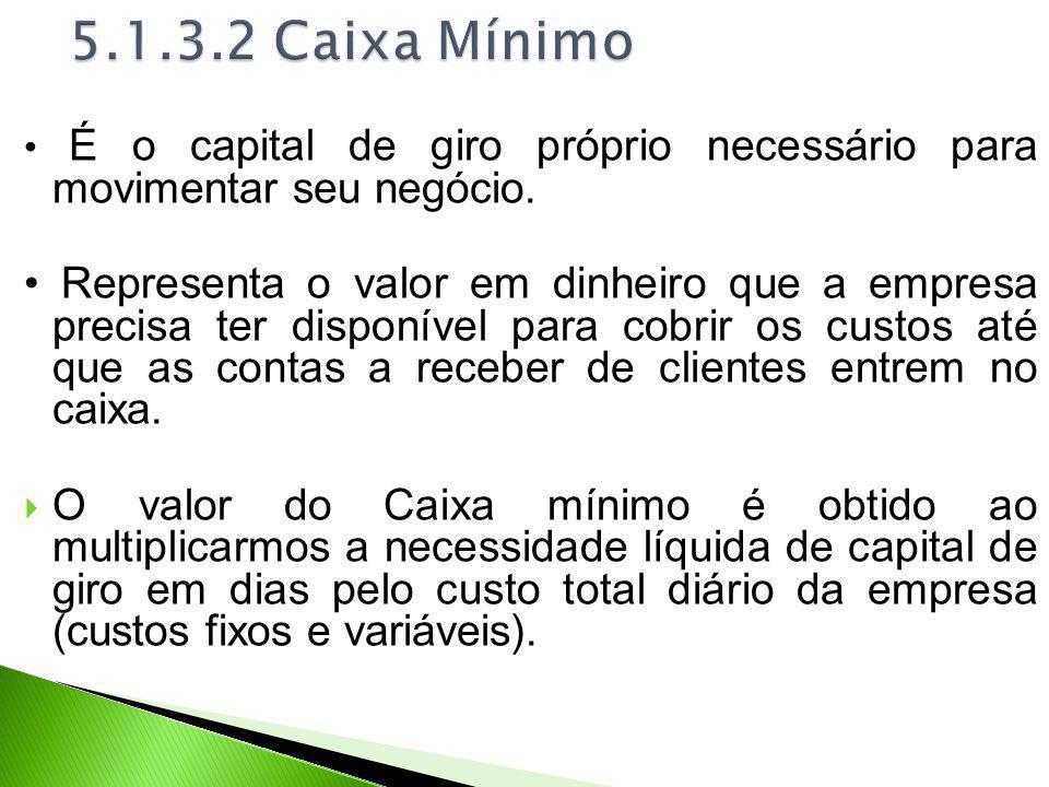 5.1.3.2 Caixa Mínimo • É o capital de giro próprio necessário para movimentar seu negócio.