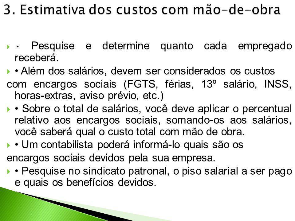 3. Estimativa dos custos com mão-de-obra