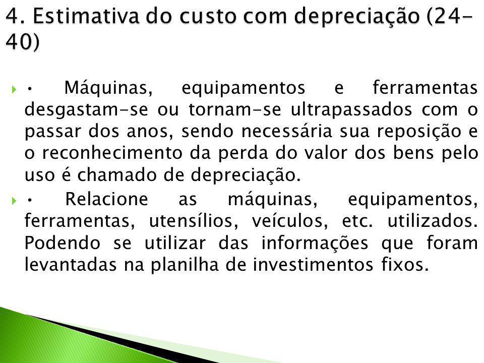 4. Estimativa do custo com depreciação (24-40)