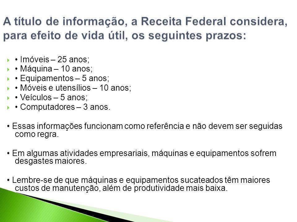A título de informação, a Receita Federal considera, para efeito de vida útil, os seguintes prazos: