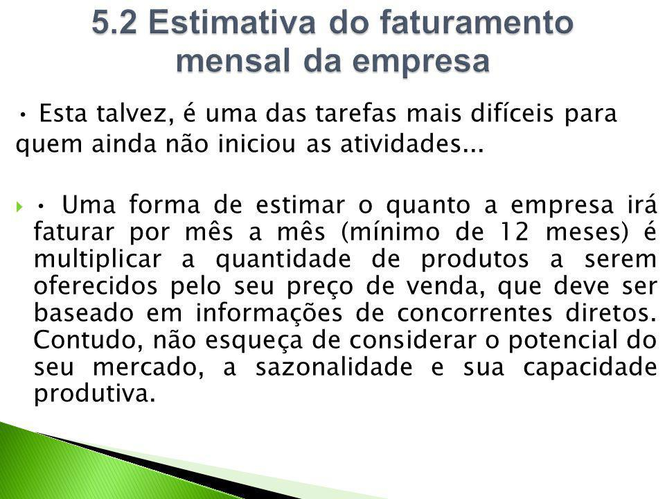 5.2 Estimativa do faturamento mensal da empresa