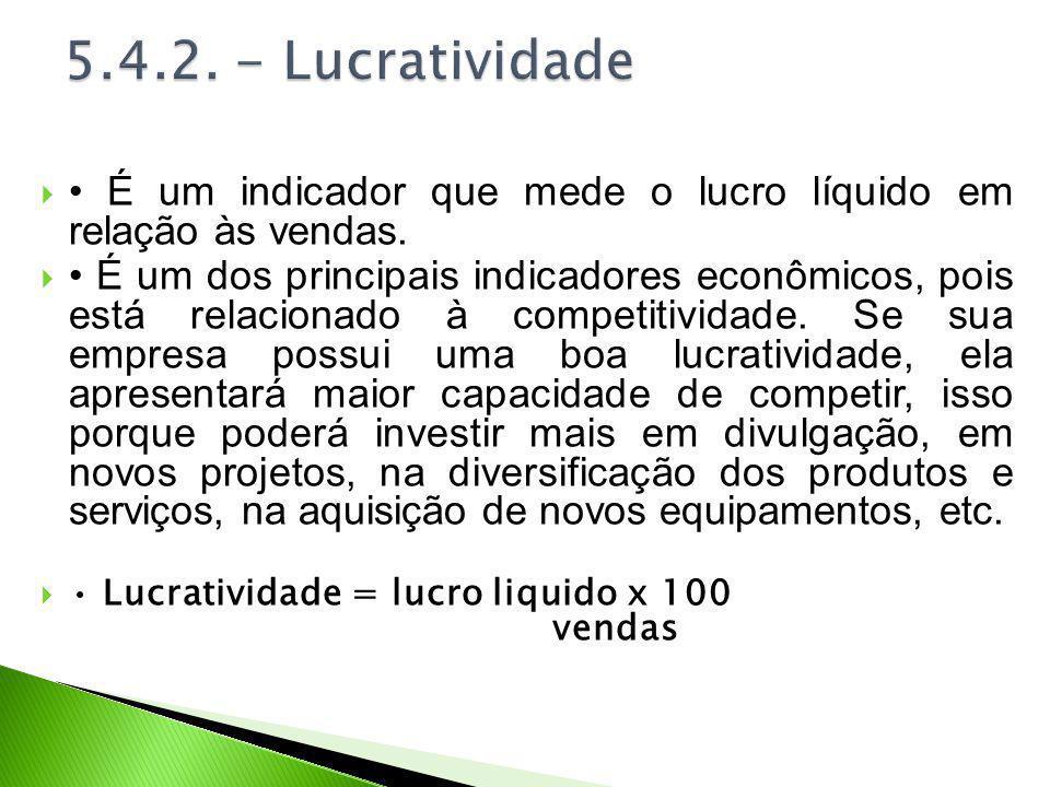 5.4.2. - Lucratividade • É um indicador que mede o lucro líquido em relação às vendas.