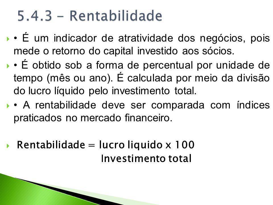 5.4.3 - Rentabilidade • É um indicador de atratividade dos negócios, pois mede o retorno do capital investido aos sócios.