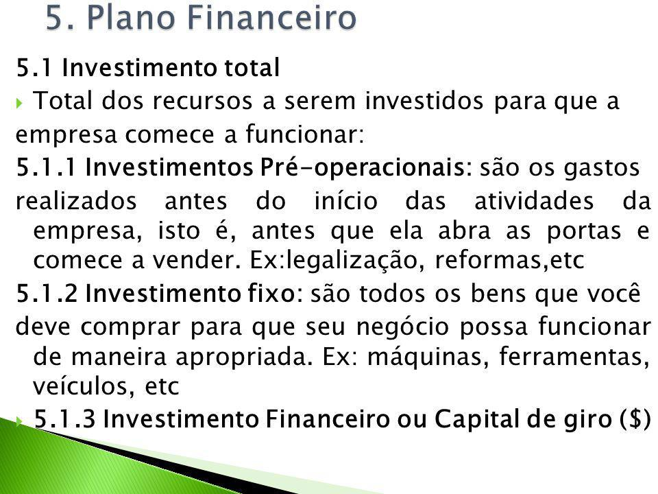 5. Plano Financeiro 5.1 Investimento total