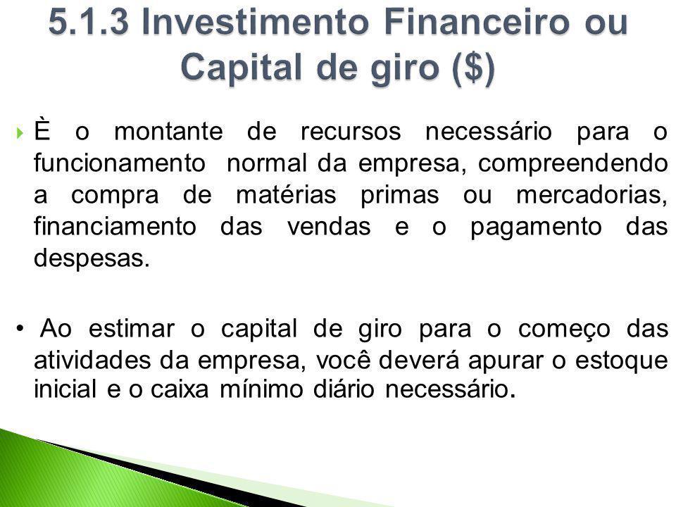 5.1.3 Investimento Financeiro ou Capital de giro ($)