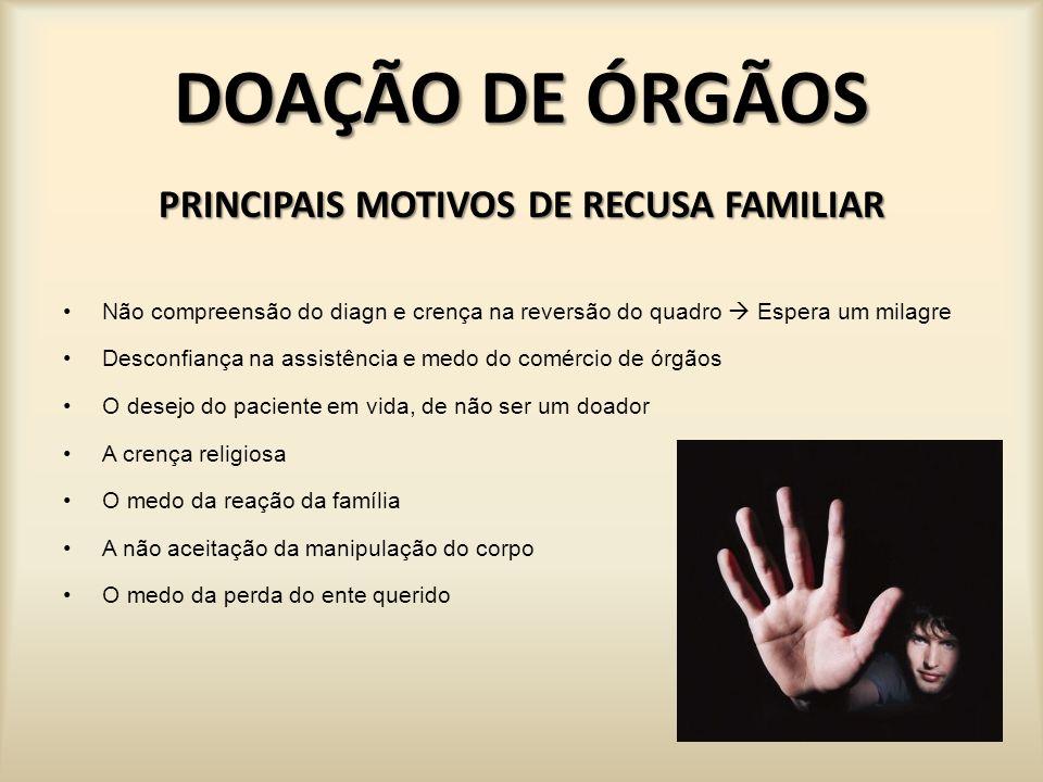 PRINCIPAIS MOTIVOS DE RECUSA FAMILIAR