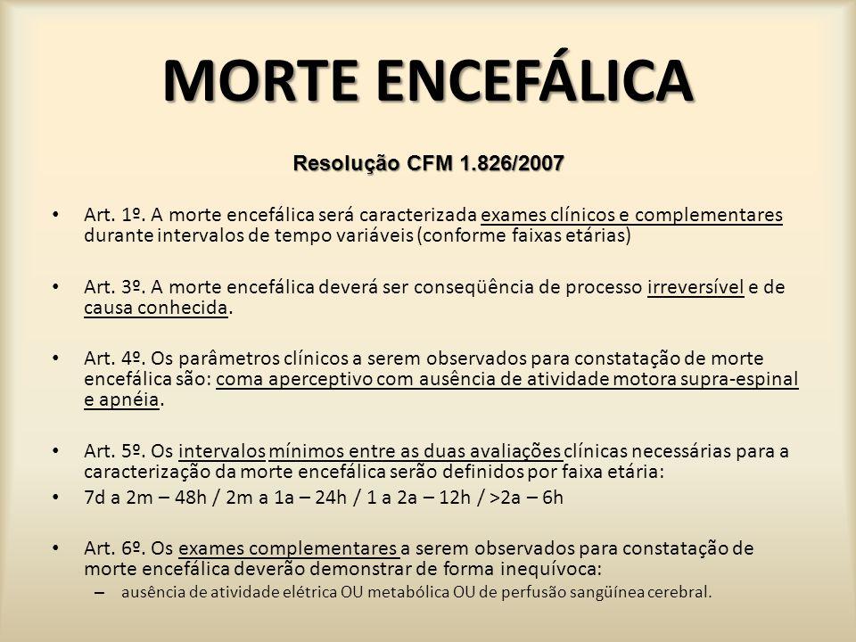 MORTE ENCEFÁLICA Resolução CFM 1.826/2007