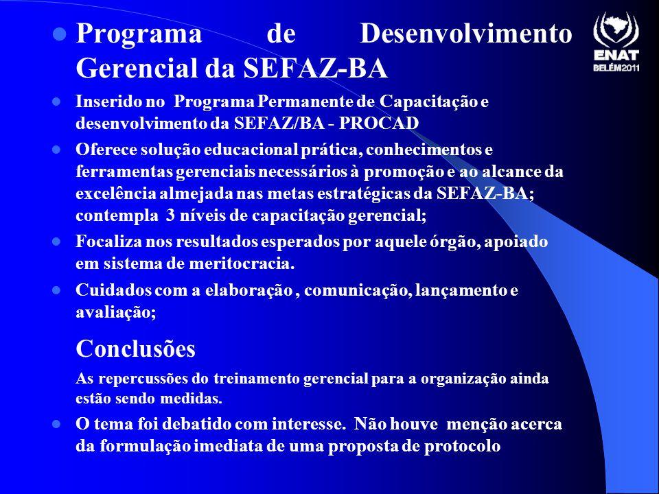 Programa de Desenvolvimento Gerencial da SEFAZ-BA