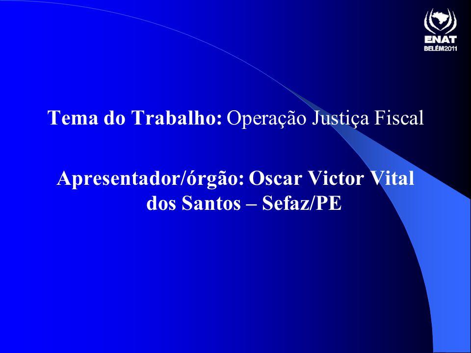 Apresentador/órgão: Oscar Victor Vital dos Santos – Sefaz/PE