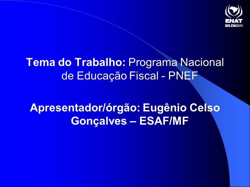 Apresentador/órgão: Eugênio Celso Gonçalves – ESAF/MF