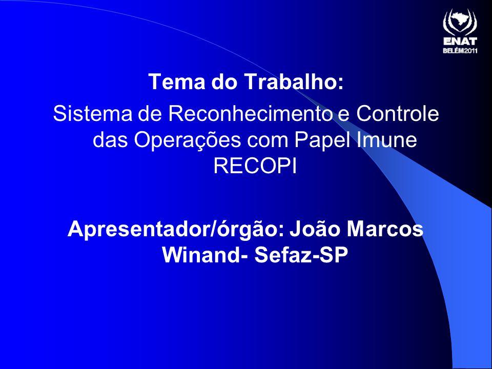 Apresentador/órgão: João Marcos Winand- Sefaz-SP