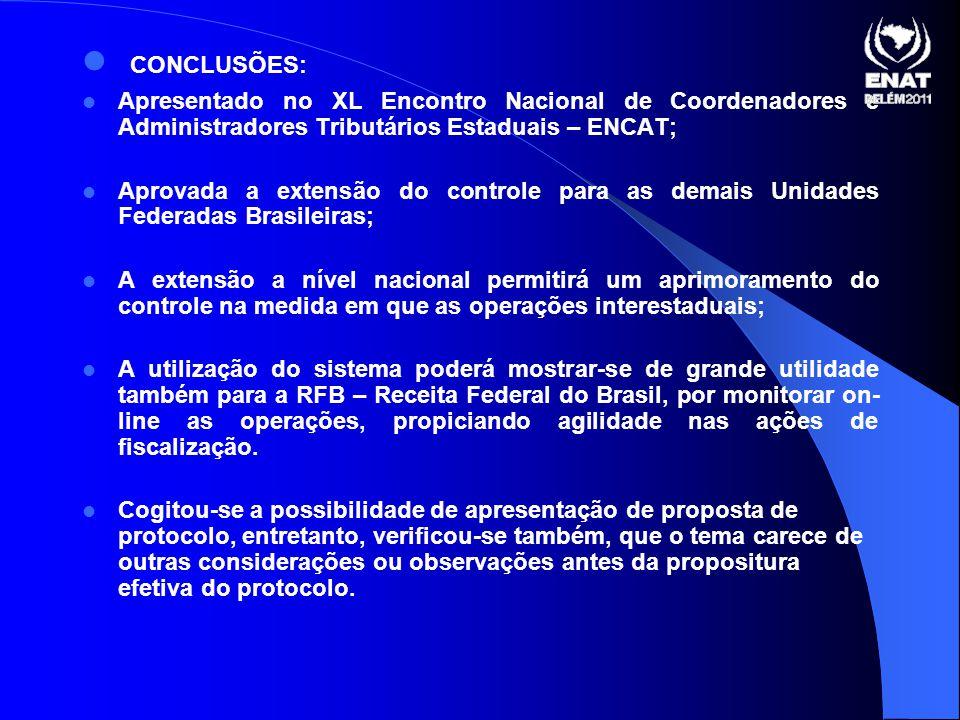 CONCLUSÕES: Apresentado no XL Encontro Nacional de Coordenadores e Administradores Tributários Estaduais – ENCAT;