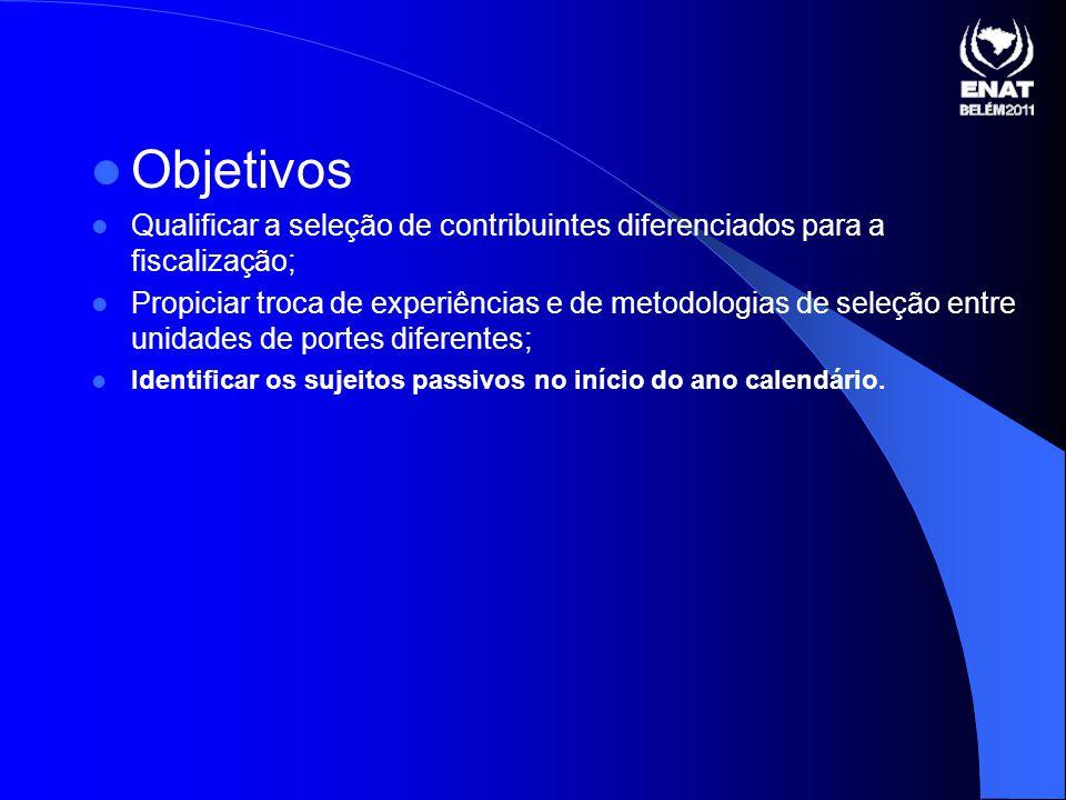 Objetivos Qualificar a seleção de contribuintes diferenciados para a fiscalização;