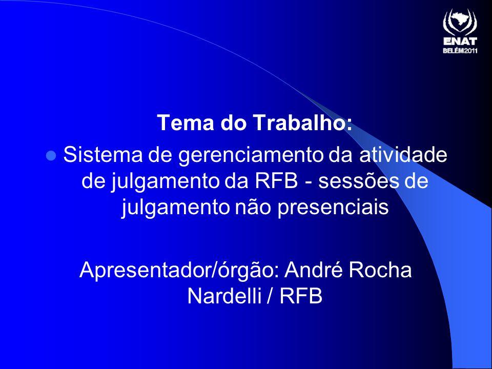 Apresentador/órgão: André Rocha Nardelli / RFB
