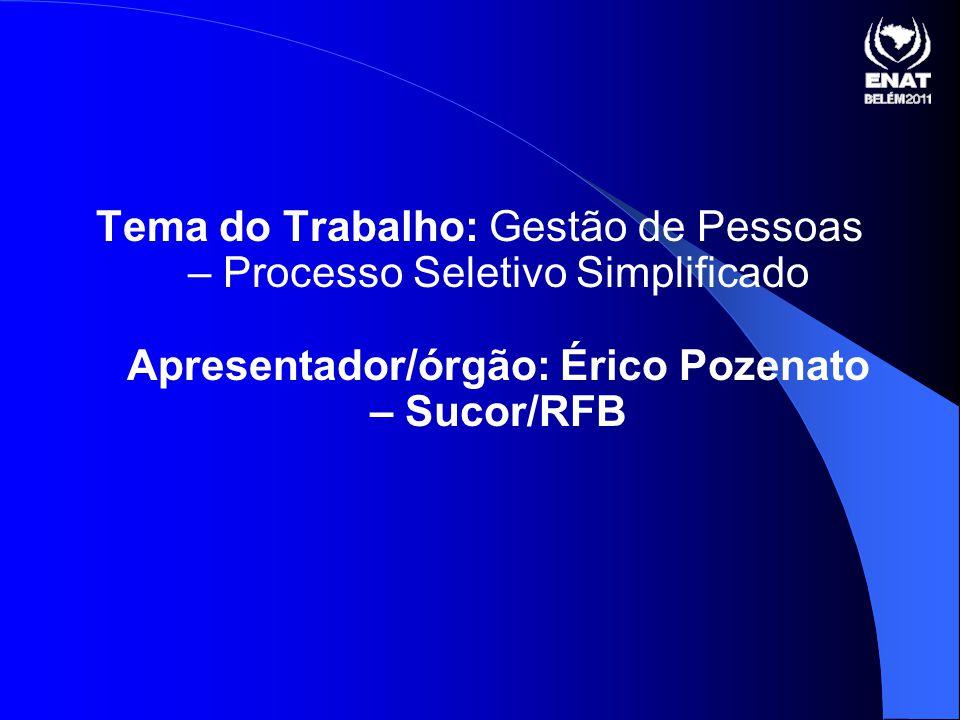 Tema do Trabalho: Gestão de Pessoas – Processo Seletivo Simplificado Apresentador/órgão: Érico Pozenato – Sucor/RFB