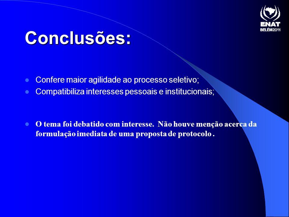 Conclusões: Confere maior agilidade ao processo seletivo;