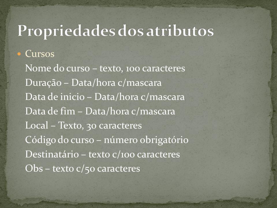 Propriedades dos atributos