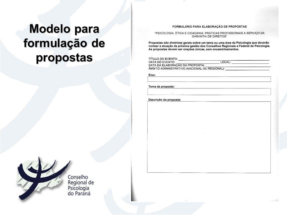 Modelo para formulação de propostas
