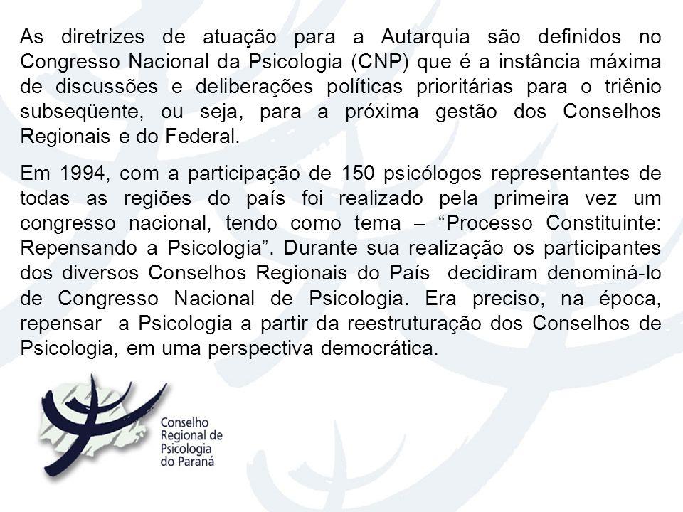 As diretrizes de atuação para a Autarquia são definidos no Congresso Nacional da Psicologia (CNP) que é a instância máxima de discussões e deliberações políticas prioritárias para o triênio subseqüente, ou seja, para a próxima gestão dos Conselhos Regionais e do Federal.