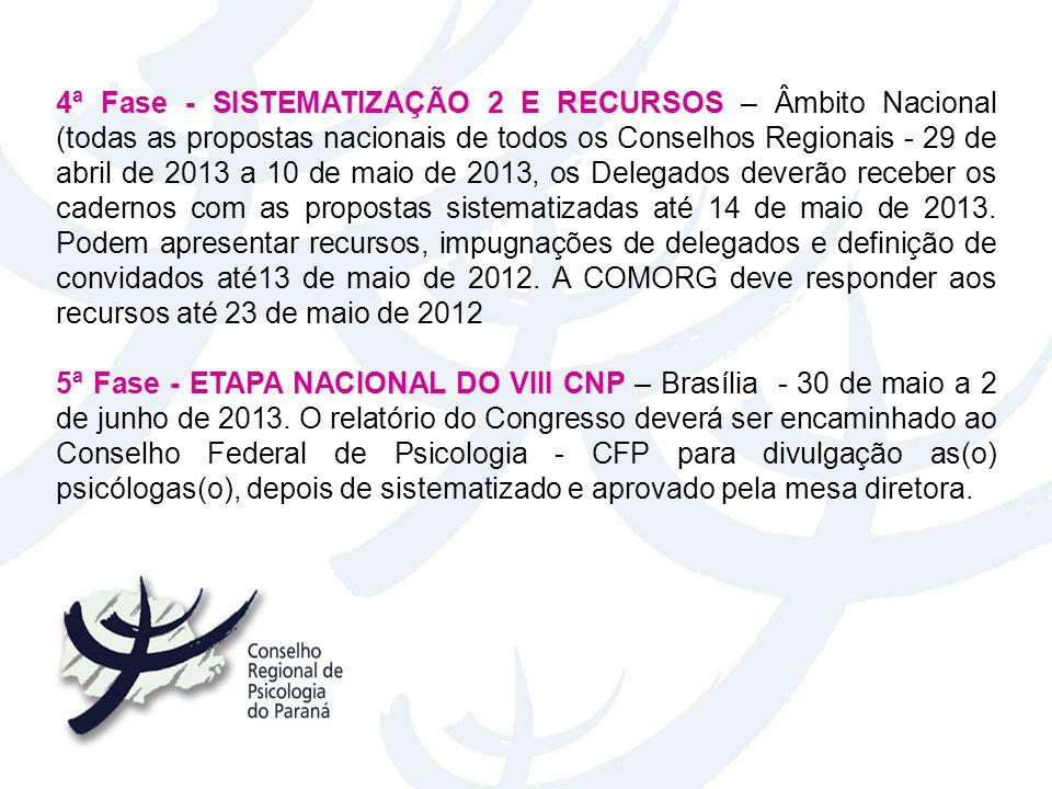 4ª Fase - SISTEMATIZAÇÃO 2 E RECURSOS – Âmbito Nacional (todas as propostas nacionais de todos os Conselhos Regionais - 29 de abril de 2013 a 10 de maio de 2013, os Delegados deverão receber os cadernos com as propostas sistematizadas até 14 de maio de 2013. Podem apresentar recursos, impugnações de delegados e definição de convidados até13 de maio de 2012. A COMORG deve responder aos recursos até 23 de maio de 2012
