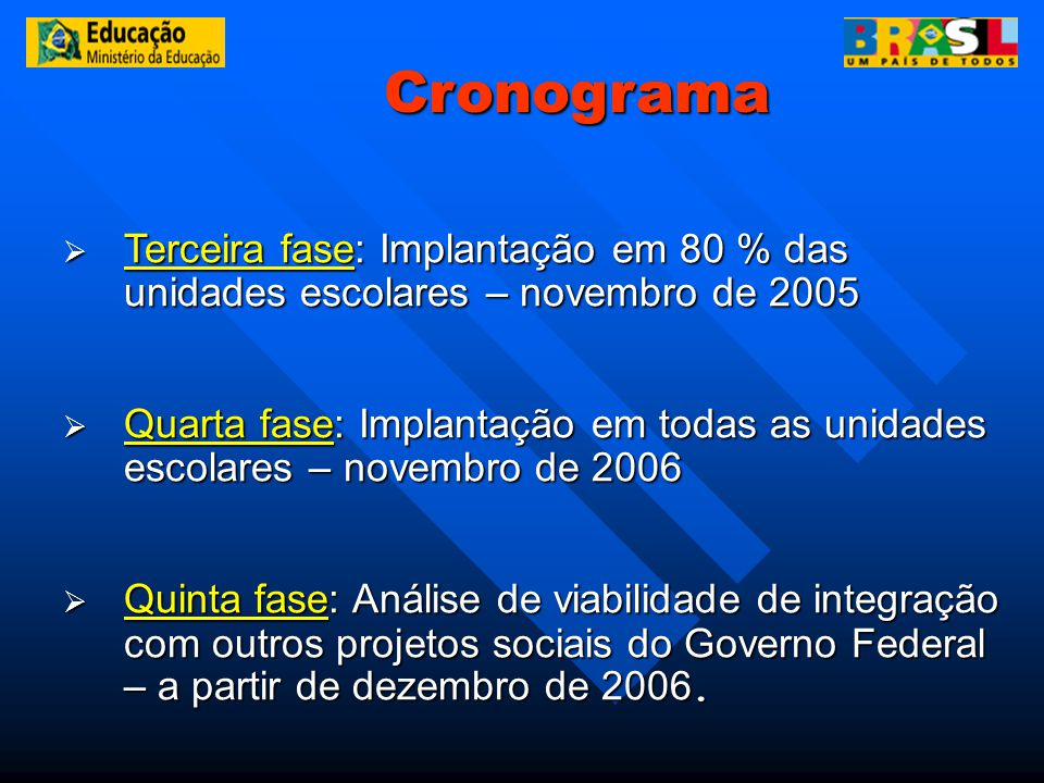 Cronograma Terceira fase: Implantação em 80 % das unidades escolares – novembro de 2005.