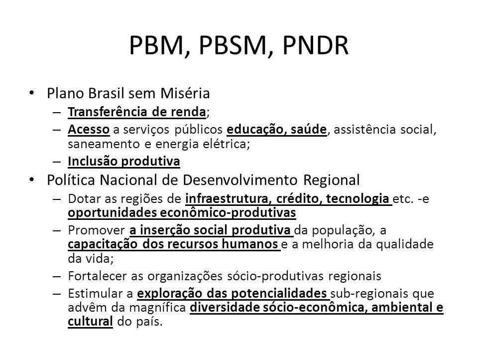 PBM, PBSM, PNDR Plano Brasil sem Miséria