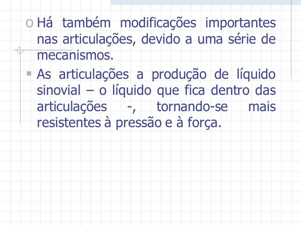 Há também modificações importantes nas articulações, devido a uma série de mecanismos.