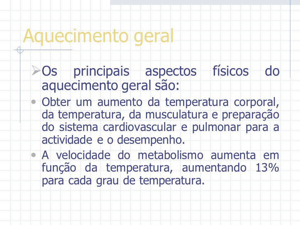 Aquecimento geral Os principais aspectos físicos do aquecimento geral são: