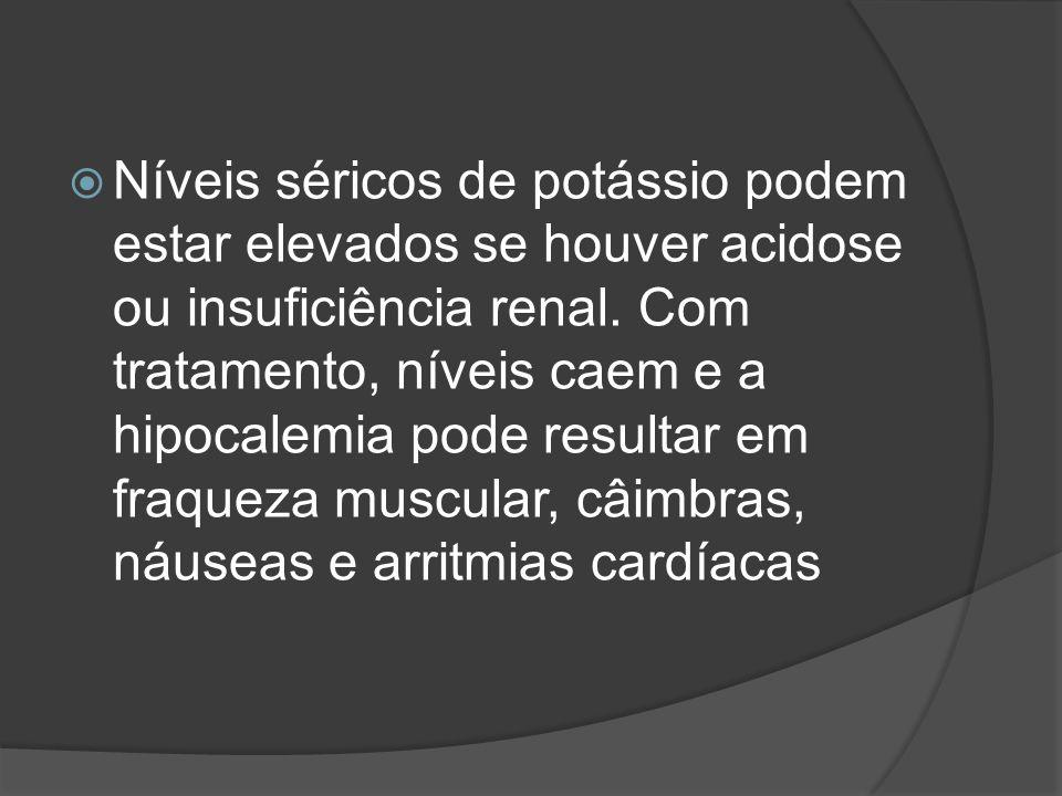 Níveis séricos de potássio podem estar elevados se houver acidose ou insuficiência renal.