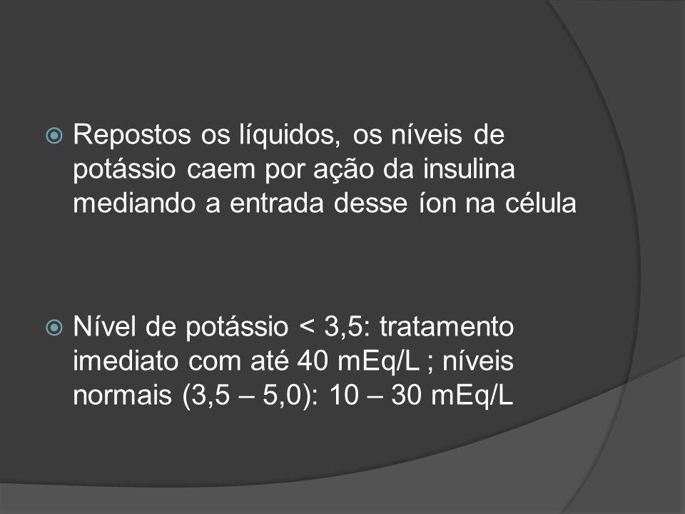 Repostos os líquidos, os níveis de potássio caem por ação da insulina mediando a entrada desse íon na célula