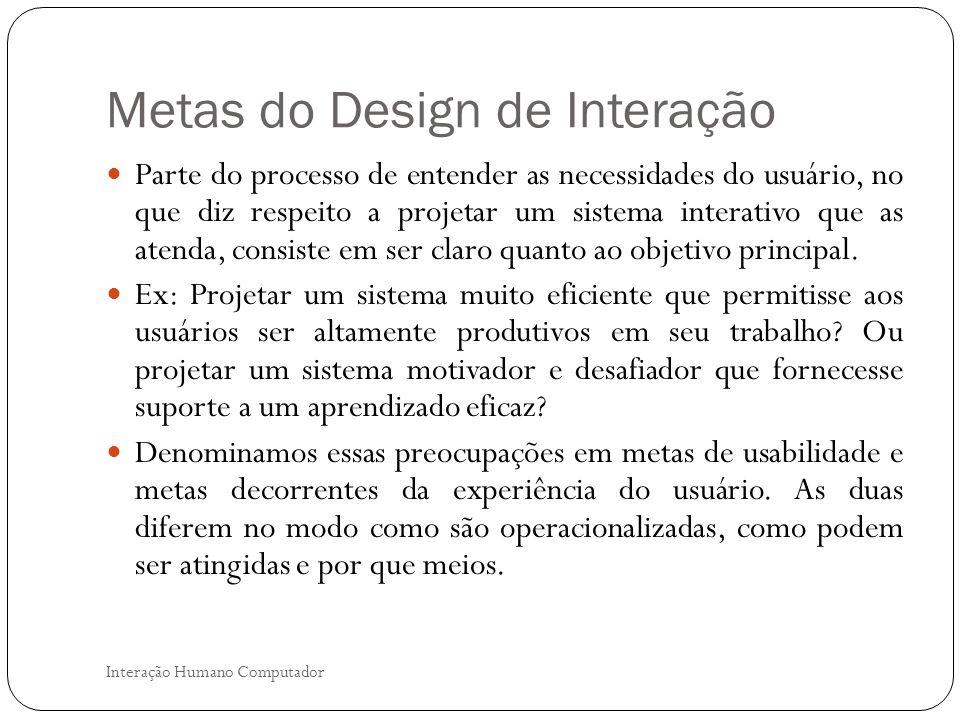 Metas do Design de Interação