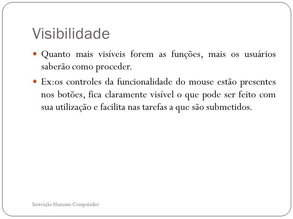 Visibilidade Quanto mais visíveis forem as funções, mais os usuários saberão como proceder.