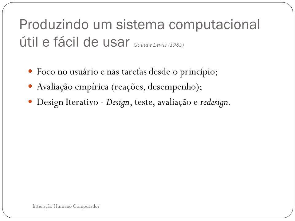 Produzindo um sistema computacional útil e fácil de usar Gould e Lewis (1985)