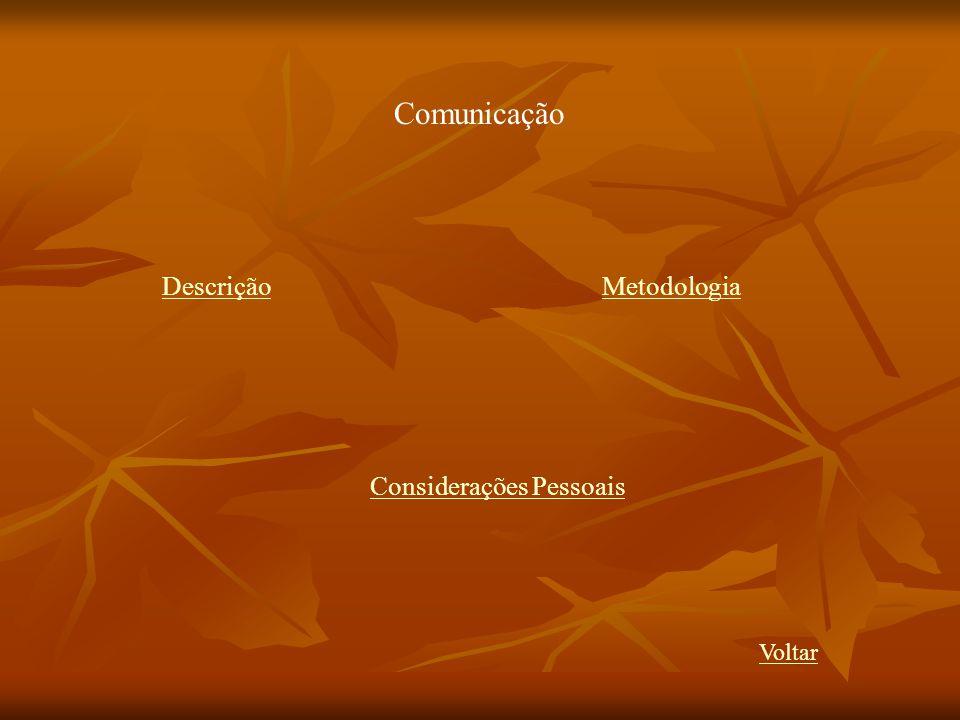 Comunicação Descrição Metodologia Considerações Pessoais Voltar