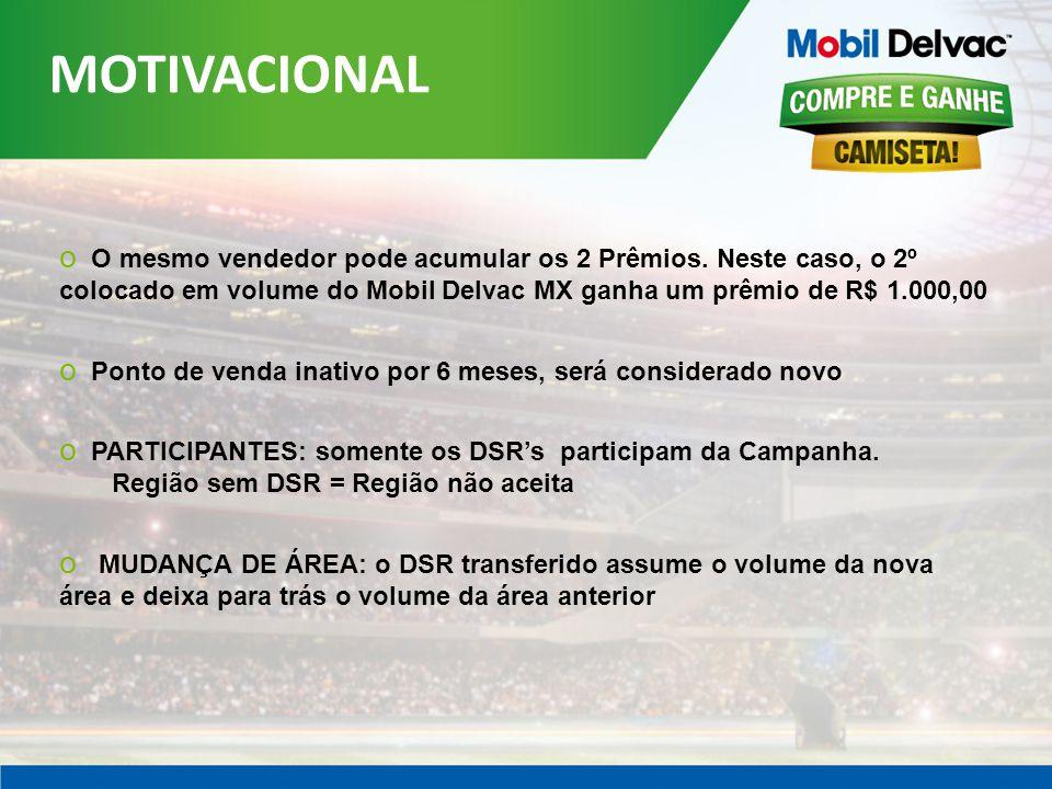 MOTIVACIONAL O mesmo vendedor pode acumular os 2 Prêmios. Neste caso, o 2º colocado em volume do Mobil Delvac MX ganha um prêmio de R$ 1.000,00.