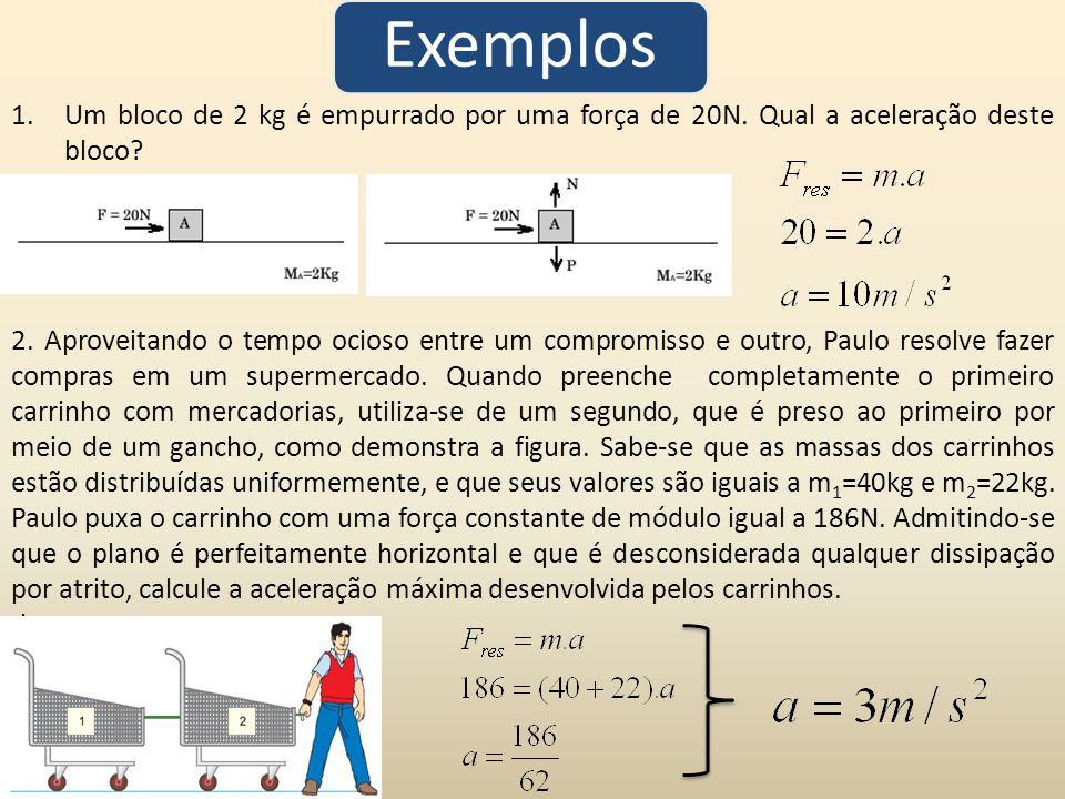 Exemplos Um bloco de 2 kg é empurrado por uma força de 20N. Qual a aceleração deste bloco